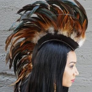 Mohawk Horse Unicorn Feather Headdress Headpiece